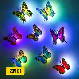 10 PCS 3D Butterfly Wall Stickers LED Lights Living Room Bed
