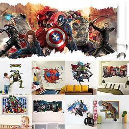 10 styles 3d superheroes avengers wall decals