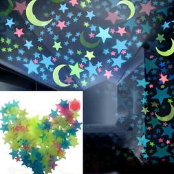 100 Wall Glow In The Dark Moon+Stars Stickers Baby Nursery B