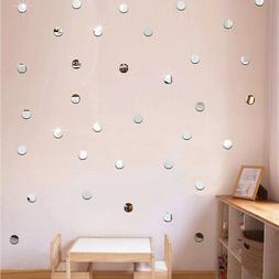 100pc 2cm Round 3D Mirror Wall Sticker For Ceiling Living Ro