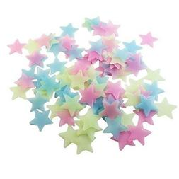 100pcs Wall Decals Glow Color Stars Fluorescent Wall Sticker