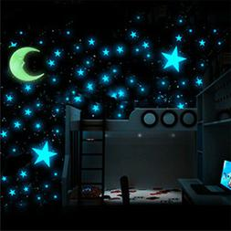100X Glow In The Dark Stars Wall Sticker Kids Nursery Bedroo