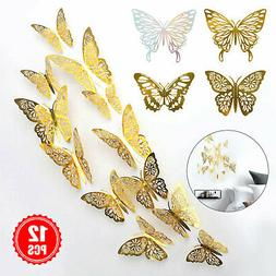 12/24Pcs 3D Butterfly Wall Decals Stickers Decorations 3D Ho