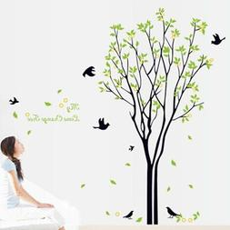 120*100 cm Large Green tree birds wall Decals for Living Roo