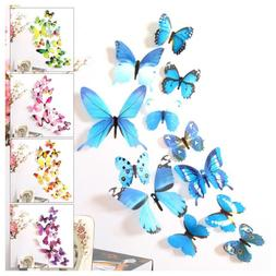 12pcs 3d butterfly sticker art design pvc