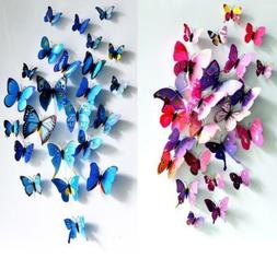 12PCS 3D Butterfly Wall Stickers Art Design Home Bedroom Dec