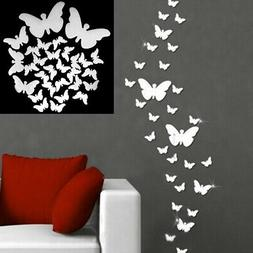 12pcs 3D DIY Art Mirror Butterfly Wall Stickers Removable Ho