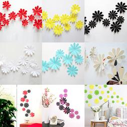 12Pcs 3D Flowers Shape Acrylic Wall Sticker Home Bedroom Mur