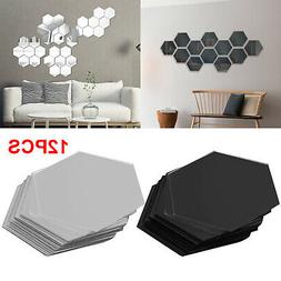 12Pcs 3D Hexagon Acrylic Mirror Wall Stickers Home Room DIY