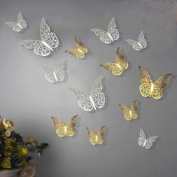 12pcs 3D Hollow Out Butterfly Wall Stickers Art Decals Home