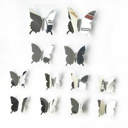 12PCS/Set 3D Mirror Butterfly Decals PVC Wall Stickers Vinyl