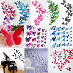 12X 3D Butterfly Wall Stickers Art Sticker Decals Home Room