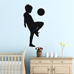 "BIBITIME 16.92"" x 33.85"" Boy Playing Football Wall Decal Tee"