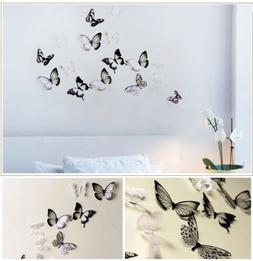 18pcs 3D Black/White Butterfly Crystal Decor Wall Stickers D