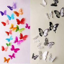18pcs 3d butterfly decor colorful wall stickers