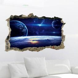 1Pc Fancy Wall Sticker 3D Outer Space Removable Decal Home M