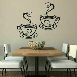 2 Coffee Cups Kitchen Wall Stickers Cafe Decals Diner Pub He