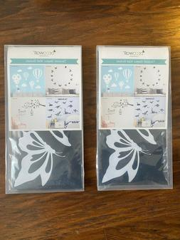 2 PACKS of DECOWALL DWG-601N_W Modern Butterfly Graphic Kids