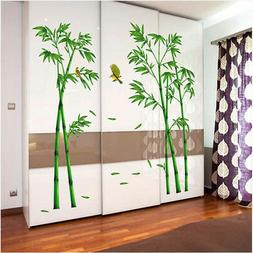 2 pcs Green Bamboo Forest Wall Stickers Decorative Mural Art