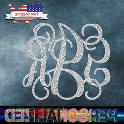 "2"" up 23"" Glittered Monogram Custom Vinyl Decal Sticker Wall"