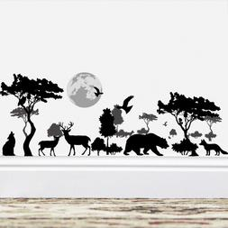 2018 Wild Tree Elephant Bear Deer Black Wall Stickers Decor