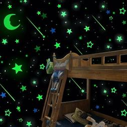 20Pcs Glow in the Dark Stars Moon Decals Party Home Decor Wa
