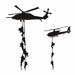"""22X22"""" Helicopter Army Soldier Wall Stickers PVC Vinyl Art D"""