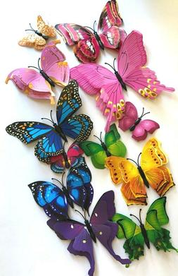 24Pcs 3D Butterfly Wall Stickers Magnetic Decals  US seller