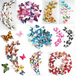 24PCS 3D Butterfly Wall Decals Removable Sticker Kids Art Nu