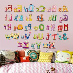 26 Letter Alphabet Animals Wall Stickers Kids Wall Decal Mur