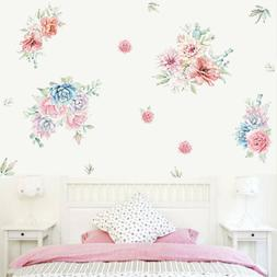 2Pcs Peony Flower Wall Sticker Decal Blossom Floral Art Stic