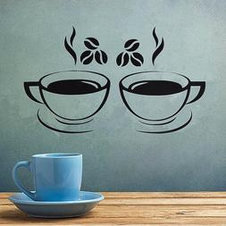 2x Coffee Cup Decals Removable Vinyl Wall Sticker Kitchen Ho