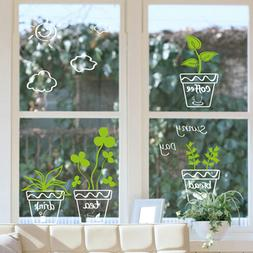 30 x 40cm Glass Window Sticker Scenery Wall Decal Flower Pla