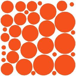 34 Orange Polka Dot Wall Stickers Removable Dot Wall Decals