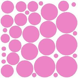 34 Soft Pink Polka Dot Wall Stickers Removable Dot Wall Deca