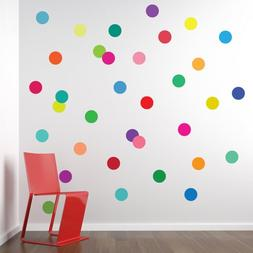 36 Confetti Rainbow Colors Polka Dots Wall Decals Stickers R