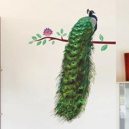 3D Animals Peacock On Branch Feathers Wall Stickers Vivid Wa