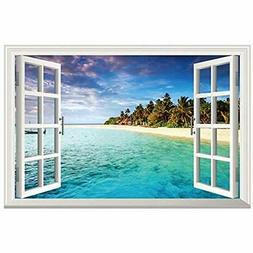 3d beach seascape fake windows wall sticker