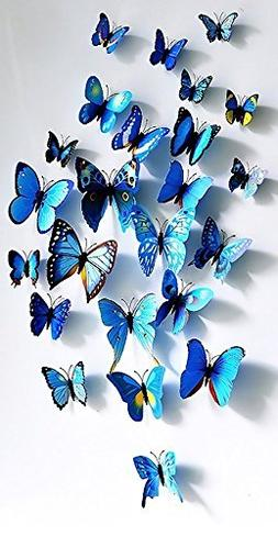 3D Blue Butterfly Love Wall Stickers Mural Decal Stickers Ar