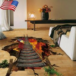 3D Bridge Floor Wall Sticker Removable Mural Decals Vinyl Ar