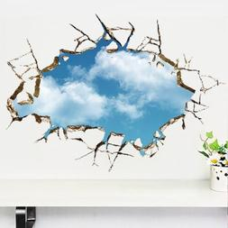 3D Bright Blue Sky Clouds Breaking through Ceiling Wall Deca
