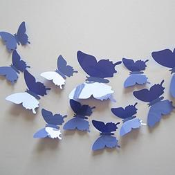 Neele 24pcs 3D Butterfly Removable Mural Stickers Wall Stick