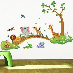 IMoan 3D Cartoon Jungle Wild Animal Tree Bridge Lion Giraffe