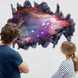 3D Cracked Outer Space Planet Meteorites Boy Room Wall Stick