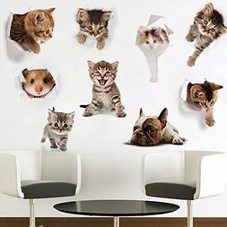 9 Pack 3D Cute Dog and Cat Peel and Stick Removable Wall Dec