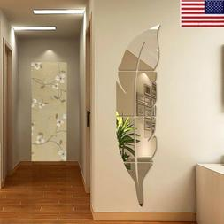 3d diy removable feather mirror wall stickers