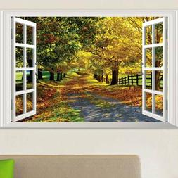 3D Fake Window Autumn leaves View Wall Stickers Home Decals