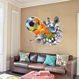 Mr.S Shop 3D Foodball Wall Stickers PVC Soccer Stickers Home