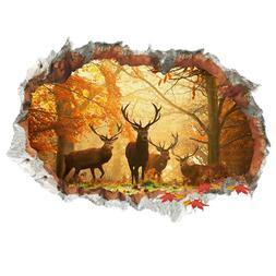 3D Forest Deer Wall Stickers Removable Wall Decals Mural Liv