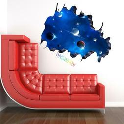 3D Galaxy Wall Sticker Decals Purple Outer Space Removable V